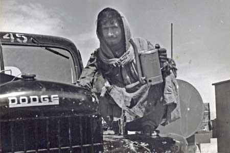 Saudi Worker with Aramco Dodge Truck
