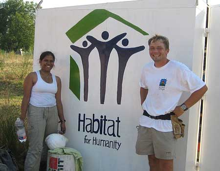 Proudly posing with the Habitat logo