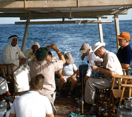 Men get ready to fish