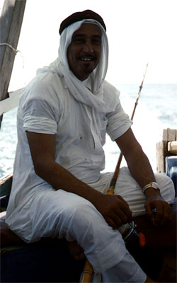 The Emir happily awaits the time to fish