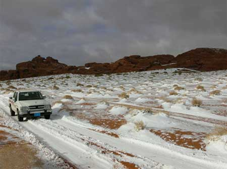 Driving in the Snowy Desert