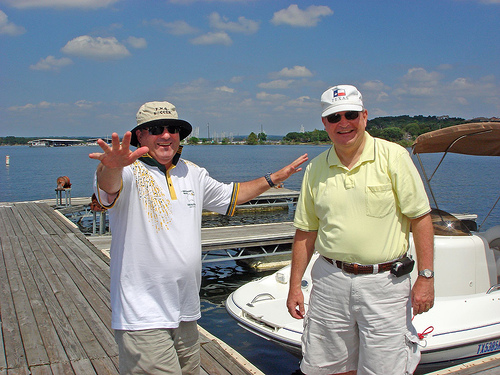 George Merrin and Fred Goff enjoy the Goff tour of Lake Travis.