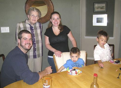 Jared, Great-Grandma Marceil, Trinity, brother Cole, and cousin Jax.