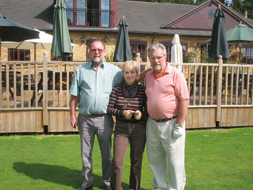 Bob Nickson, Ida Davies & Tom Henderson outside Huntswood Golf Club House.