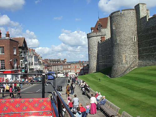 High Street Windsor as seen from open top bus.