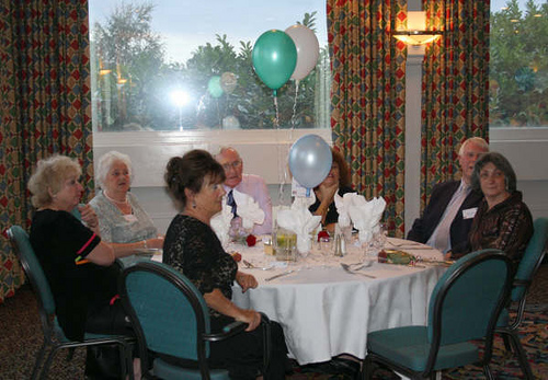 Table 3 – Jill Turner, May Brown, Maureen Rowley, Joe Richardson, Sue Clanchy, Brian & Marian Ebrey.
