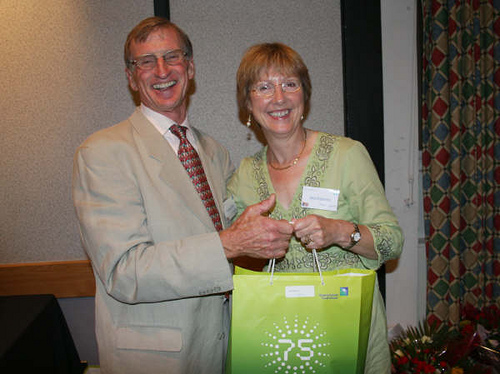 Graham Visor receiving his Commemorative Gift from Ann Wingrove.