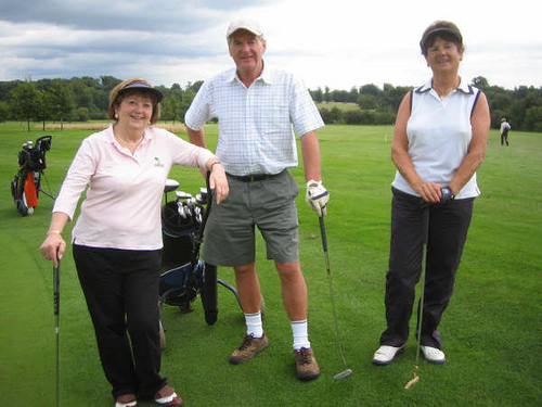 Jean Sullivan, Jimmy Churchill & Maureen Rowley beside the 5th Green.