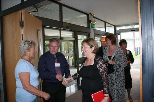 Tom Henderson introducing Jean Sullivan to Eileen Henderson.