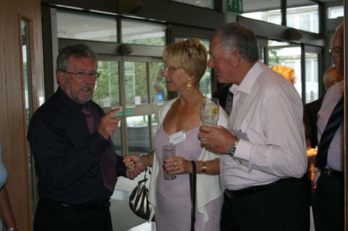 Tom greeting Rita & David Howlett.