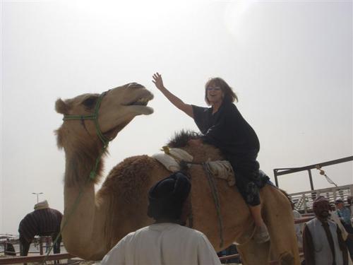 Judy Walker on a Camel