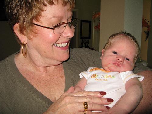Grandma Tami Schattner & Leo, 7 Days Old