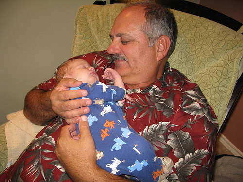 Grandpa Mike Schattner & Leo, 8 Days Old