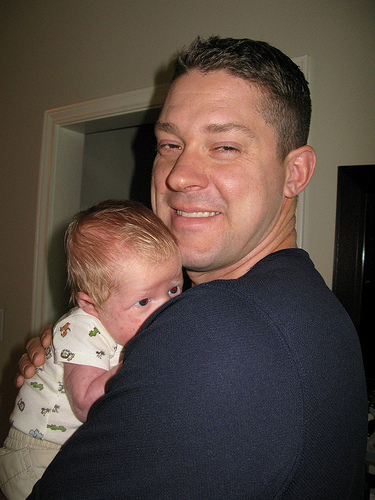 Daddy & Leo, 12 days old