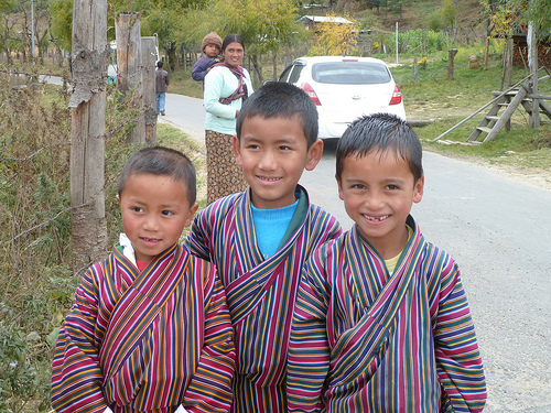 Bhutanese Students in School Uniforms
