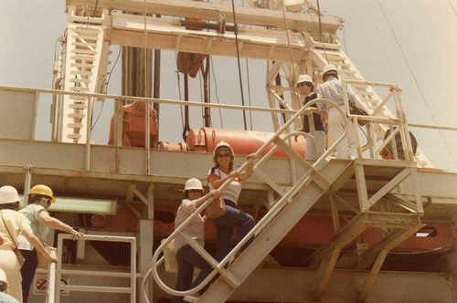 Mary Roth & Sheila Stevens on Rig Stairs