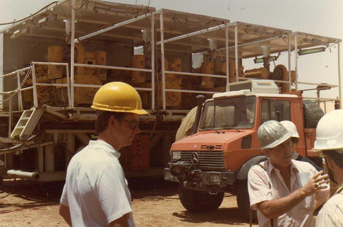 Mickey Berry (Rig Supt.) with Power Plant in Back