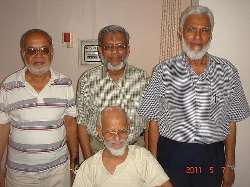 Mohammad Abdul Matin, Engr Iqbal Ahmed Khan, and Kamal Farooqi with Mohammad Khalid Khan